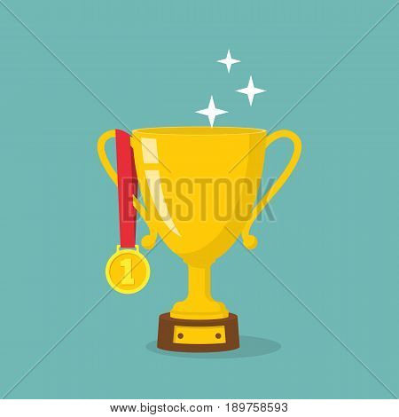 Gold cup and medal for the first place. Victory prize golden bowl. Winning and achievement. Trophy and awards isolated on white background. Vector illustration flat design. Medal on red ribbon.