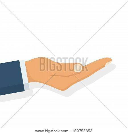 Outstretched hand. Vector illustration flat design. Isolated on white background. Gesture hands palms up to showcase objects. Empty space, template for demonstrations.