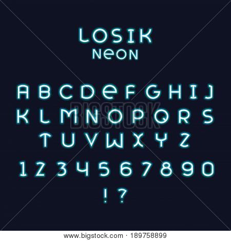 Alphabetic fonts and numbers isolated on white backgroud. Vector illustration. Losik neon font.