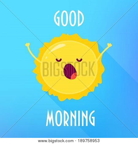 Cartoon sun stretches and yawns. Good Morning card. Flat style. Vector illustration.