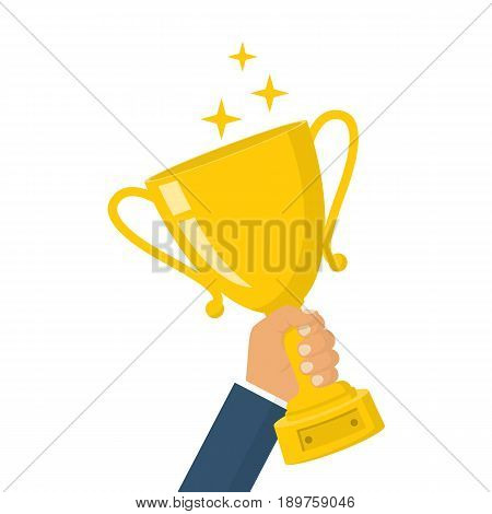 Winning cup in hand. Symbol of success, winning, championship. Gold trophy.   Award bowl. Vector illustration flat design. Isolated on white background. Leadership concept.