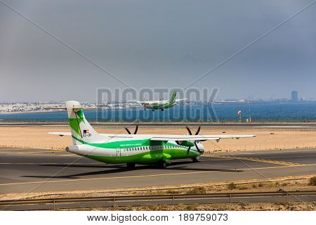 Arecife, Spain - April, 16 2017: Atr 72 Of Binter With The Registration Ec-jeh Ready To Take Off At