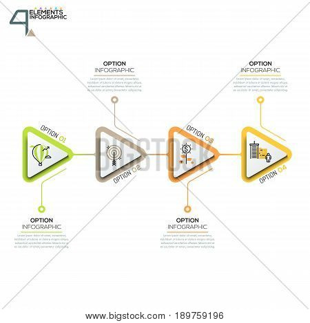 4 triangular elements or arrows with pictograms in thin line style and text boxes. Four successive steps to startup company launch. Vector illustration for brochure, corporate website.