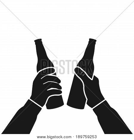 Beer party icon silhouette. Two mans holding in hands beer bottles. Toast. Drinking alcoholic beverages. Friday party. Vector flat design. Isolated on white background. Drinking together pictogram.