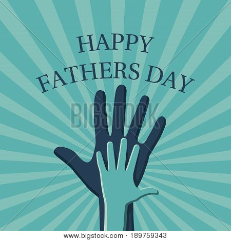 Happy Fathers day banner with rays on background. Hand child's in hand father. Vector illustration flat design. Symbol of parental love, isolated. Best dad postcard.19 June.