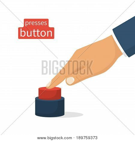 Hand pressing red button. Push finger. Vector illustration flat design. Isolated on white background.