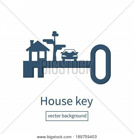 Key home silhouette. Vector illustration flat design. Template for sale, rent home, advertising. Key new life, pictogram. Sign in house.