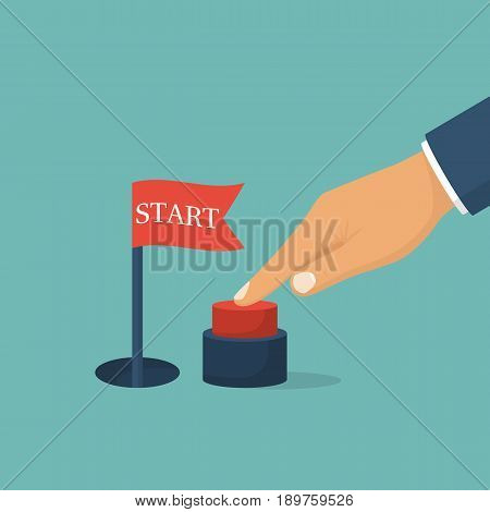 Press start button. Businessman pushing hand, red button. Red flag signaling a successful start. Vector illustration flat design. Isolated on background.