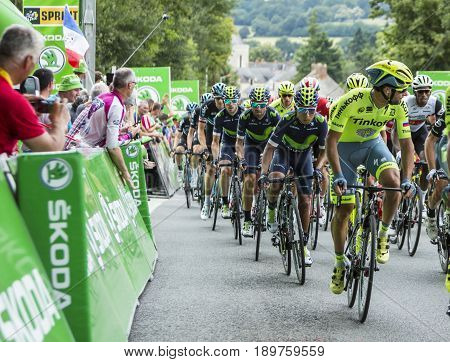 Bouille-MenardFrance - July 4 2016: The Colombian cyclist Nairo Quintana of Movistar Team rides in the pack during the stage 3 of Tour de France in Bouille-Menard on July 4 2016.