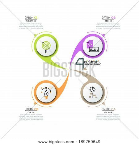 Creative infographic design template, round diagram with 4 circular elements placed around center, pictograms and text boxes. Four steps of software development. Vector illustration for presentation.