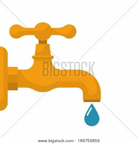 Water tap with falling drop. Vector illustration flat design. Isolated on white background. Classical old valve.
