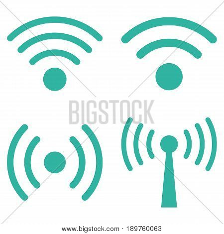 Wi-Fi Signal vector icon collection. Collection style is cyan flat symbols on a white background.