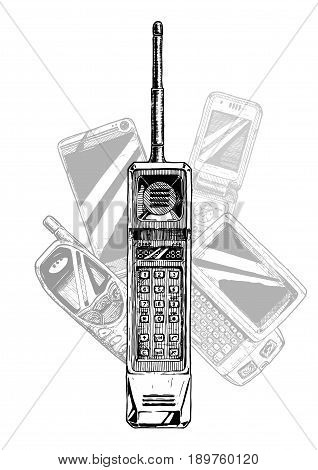 Brick phone. Vector hand drawn illustration of mobile telephone evolution in vintage engraved style.