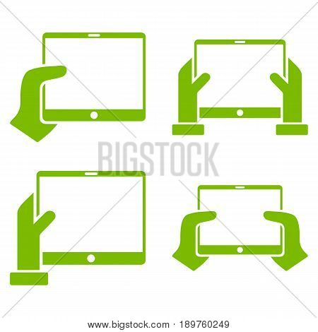 Hold Mobile Tab With Hands vector icon set. Collection style is eco green flat symbols on a white background.