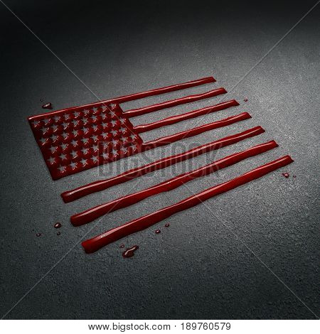 United States tragedy and tragic crime in America concept as the blood of victims on the street after a sad attack shaped as the flag of the USA as a news social issue concept in a 3D illustration style.
