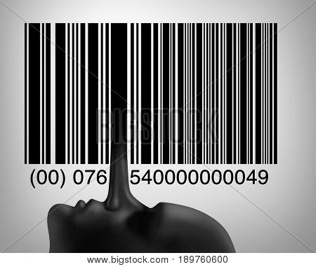 Consumer or customer fraud and deceptive practices as retail fraudulent symbol as a liar long nose as one of the bars in a barcode or upc code in a 3D illustration style.