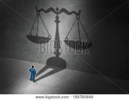 Lawyer concept and attorney symbol or a judge as a person casting a shadow of a justice scale on a wall as a symbol for a legal counselor or barrister and common law or civil law practice with 3D illustration elements.