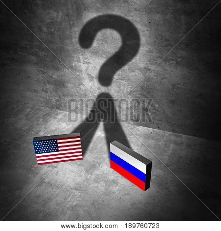 Russia American news question and Russian United States questions as a current political crisis as two flags casting a shadow representing the uncertain diplomatic and economic relationship with Moscow and Washington as a 3D illustration elements.