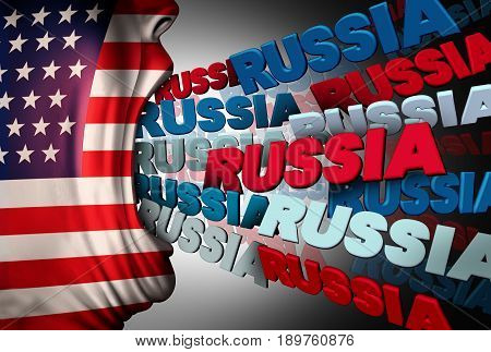American media Russia obsession as a person with a flag of the USA communicating the Russian national name as a political symbol for obsessed news reporting on current affairs between the white house and Moscow with 3D illustration elements.