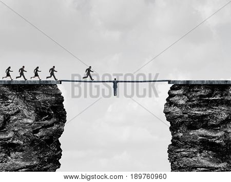 Leadership bridge business success concept as a leader businessman with stretched arms creating a path and helping hand to succeed as a financial team metaphor or strong support for employees with 3D illustration elements.