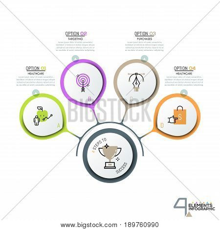 4 circular elements and pictograms in thin line style connected with main element and text boxes. Creative infographic design layout. Four steps to goal achievement. Vector illustration for report.