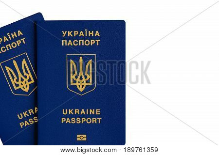 Ukrainian foreign biometric passport for the liberalization of the visa regime. Isolated white background.