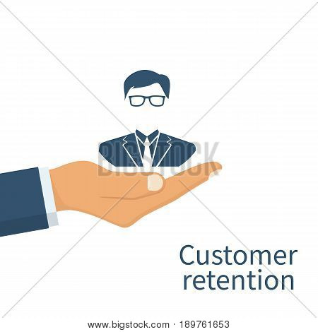 Customer retention concept. Customer Care. Providing save customer loyalty. Vector illustration flat design. Isolated on white background. Businessman in a hands palm holds a client icon.