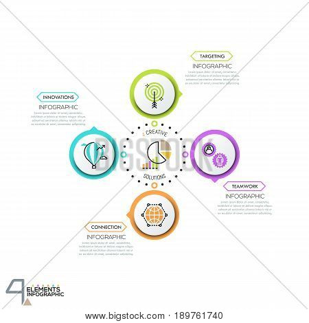 Circular diagram with 4 round elements connected by dotted line and text boxes. Modern infographic design layout. Steps of innovative business project development. Vector illustration for website.
