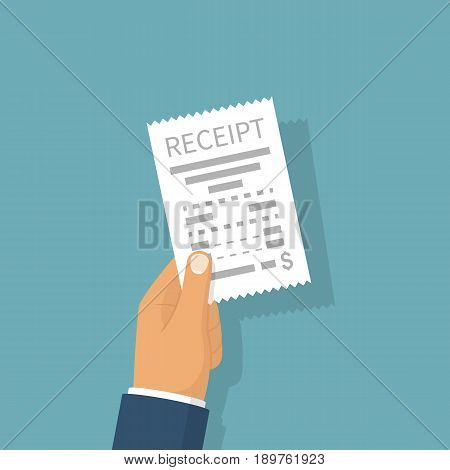 Man holding receipt. Businessman hold in hand bill. Payment of utility, bank, restaurant. Concept business finance. Vector illustration flat design. Report finance, invoice, expenses.
