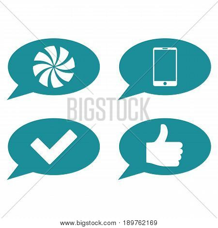 Message Cloud vector icon clip art. Collection style is soft blue flat symbols on a white background.