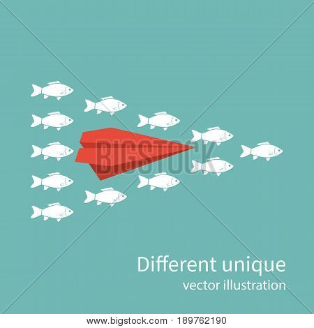 Another unique. Red plane in of white fish. Creative standing out from crowd. Uniqueness individuality courage confidence. Difference concept. Vector illustration flat design. Isolated on background.