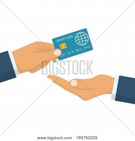 Give credit card. Holding plastic card with chip in hand businessman. Electronic money. Transfer in hands earnings. Vector illustration flat design. Isolated on white background. Banking concept.
