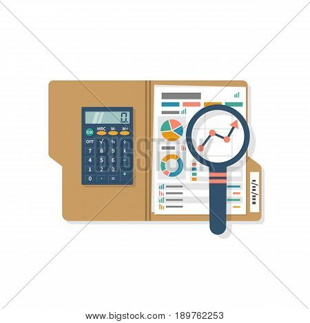 Business planning concept. Research chart, analyzing project, strategy, development, financial management, marketing statistic. Folder with graph, diagrams, calculator magnifying glass. Annual report.