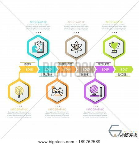 Horizontal timeline, 6 hexagons with thin line icons successively connected by arrows with year indication. Infographic design template. Story of company development concept. Vector illustration.