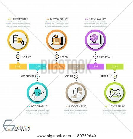 Horizontal timeline, 6 round elements with thin line icons, time indication and text boxes. Infographic design layout. Effective planning and scheduling concept. Vector illustration for blog, report.