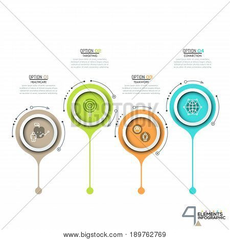 4 circular elements with thin line pictograms. Minimalistic infographic design template. Four options for problem solving concept. Vector illustration for corporate website, presentation, brochure.