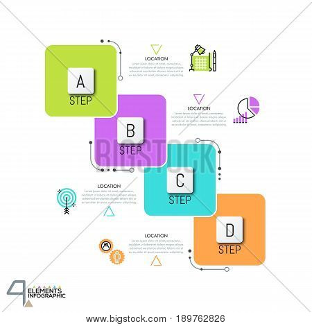 Infographic design template with 4 overlapped squared elements, text boxes and thin line icons. Successive steps to project completion concept. Vector illustration for website, report, presentation.