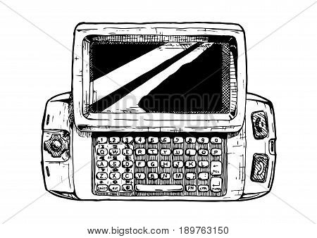 Vector hand drawn illustration of wide slider phone in vintage engraved style. isolated on white background.