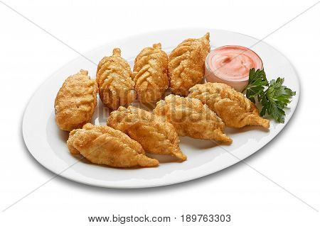 Fried fillet in batter on white background isolation