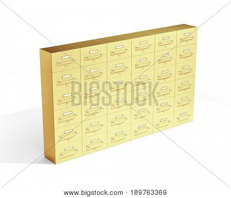 Gold deposit boxes on white background. 3d illustration