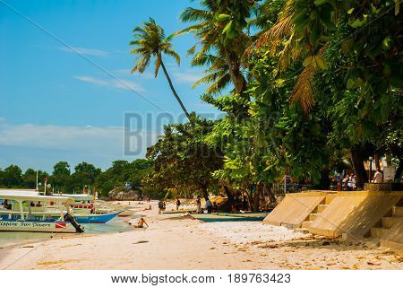 The White Sand Tropical Beach Of Panglao Island, Bohol. Philippines