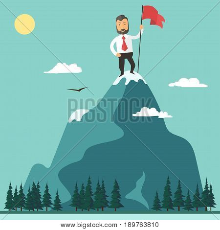 Businessman with red flag on a Mountain peak, success and mission, target and victory, motivation, winner on top. Flat style motivation vector illustration
