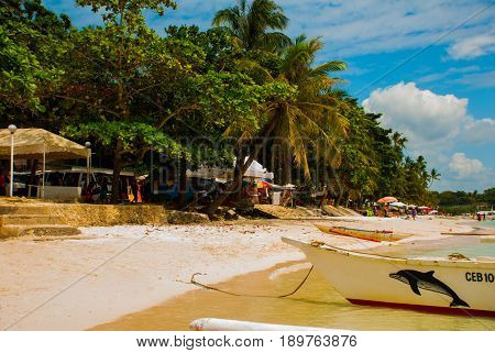 Boats At Tropical White Beach With Sand Beach Of Panglao. Island, Bohol. Philippines
