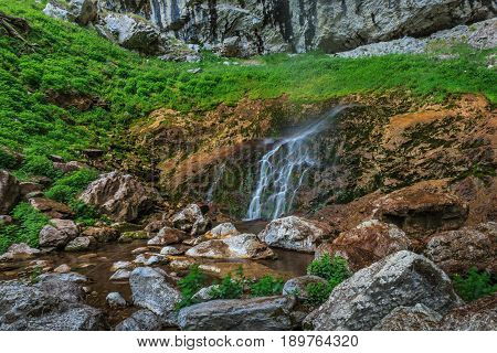 Waterfall landscape. Vanturatoarea waterfall in Transylvania Romania