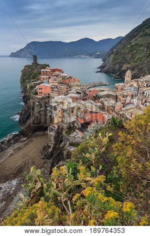 Vernazza fishermen village in Cinque Terre unesco world heritage in Italy
