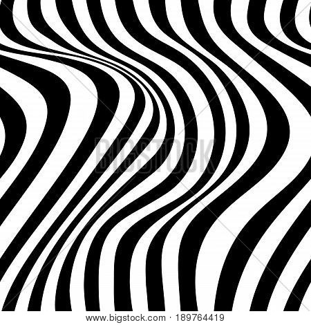 Abstract vector seamless op art pattern with waving curling lines. Monochrome  graphic black and white ornament.