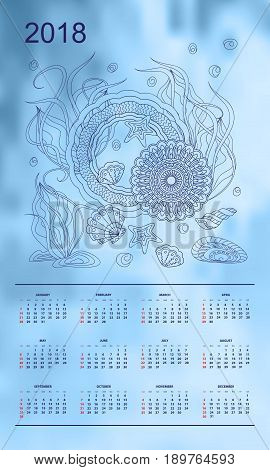 Business english calendar for wall on year 2018 on the gradient background with hand drawn seashells and mandalas. Week starts on Sunday. eps 10