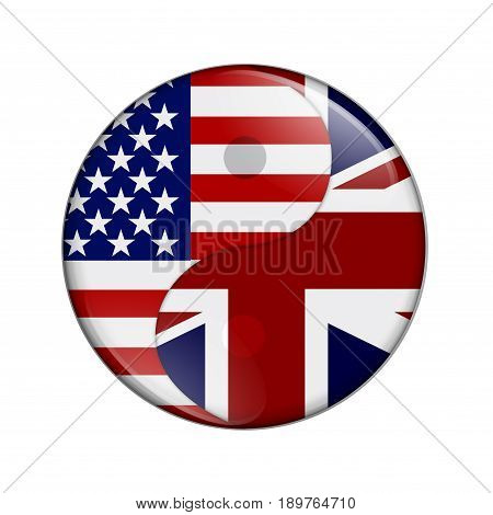 USA and UK working together The US flag and British flag on a yin yang symbol isolated over white, 3D Illustration
