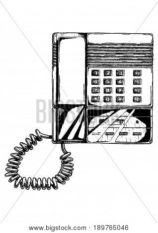 Vector hand drawn illustration of push-button phone with answering machine of 1980s in vintage engraved style. isolated on white background.
