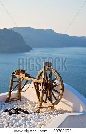 Greece In Santorini The Old Town Near   Mediterranean Sea And Spinning Wheel